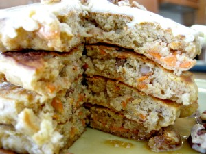 Carrot Cake Pancakes with slice